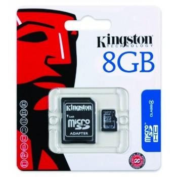 Carte Micro SD - 8 Go avec Adaptateur pour caméra - Kingston