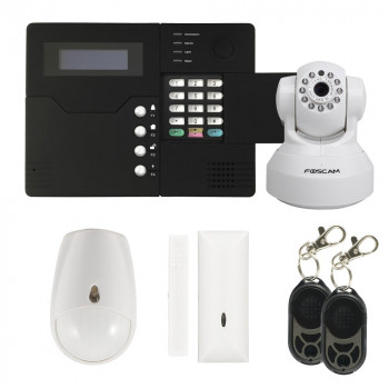 Alarme maison GSM + Caméra IP Wifi HD Blanche
