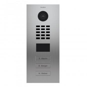 Portier vidéo IP 3 sonnettes - Lecteur RFID - Doorbird D2103V EAU SALEE Inox