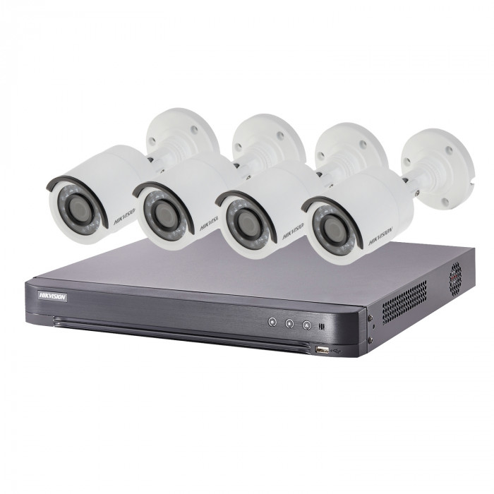 Kit video surveillance Turbo HD Hikvision 4 caméras bullet