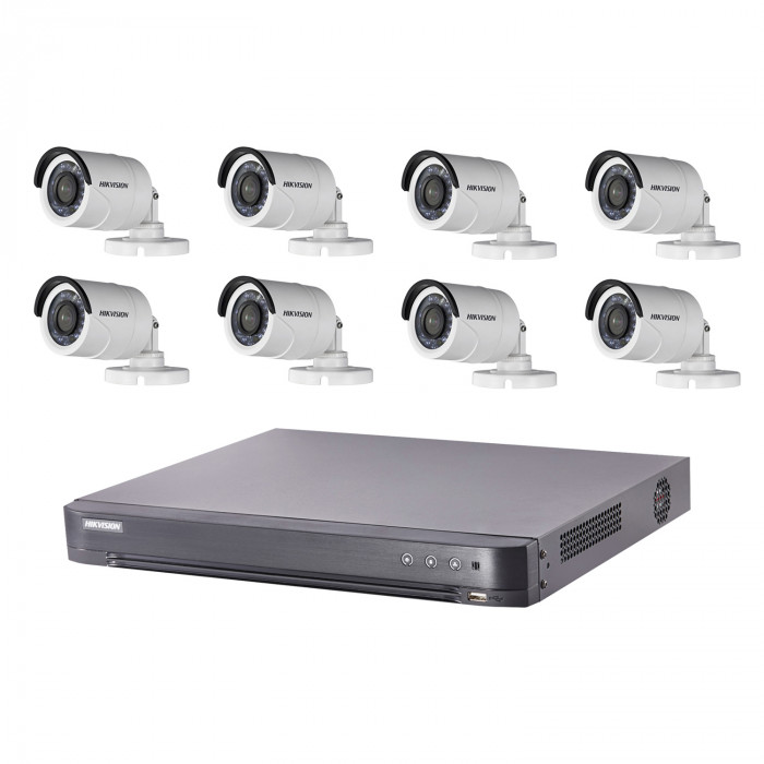 Kit video surveillance Turbo HD Hikvision 8 caméras bullet