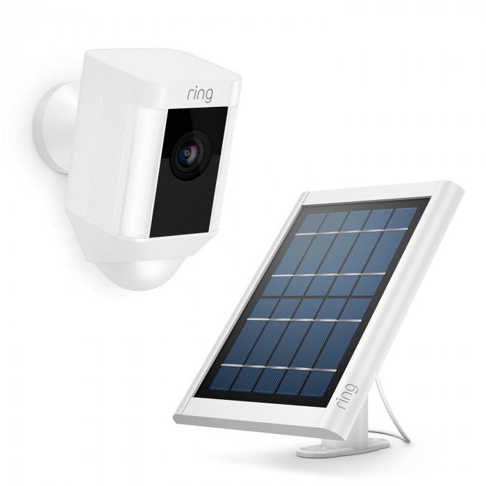 Kit caméra sans fil Spotlight Cam Battery avec chargeur solaire (blanc) - Ring