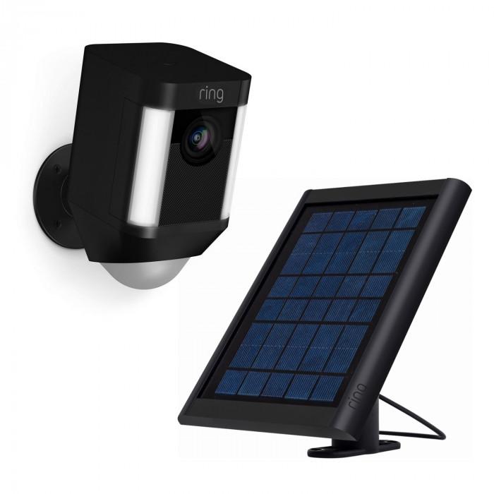 Kit caméra sans fil Spotlight Cam Battery avec chargeur solaire (noir) - Ring