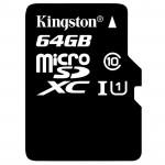 Carte microSDHC - 64 Go avec Adaptateur pour caméra - Kingston