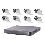 Kit video surveillance Turbo HD Hikvision 8 caméras bullet