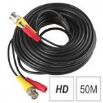 Câble 2 en 1 BNC et alimentation pour caméra analogique de 50 mètres HD